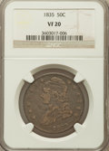 Bust Half Dollars: , 1835 50C VF20 NGC. NGC Census: (10/872). PCGS Population (16/919).Mintage: 5,352,006. Numismedia Wsl. Price for problem fr...