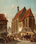 Fine Art - Painting, European:Other , JACQUES FRANÇOIS CARABAIN (Belgian, 1834-1920). Scene in aFlemish Marketplace. Oil on panel. 22 x 18 inches (55.9 x45....
