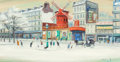 Paintings, WILLY ROCHAT JAMES (French/Swiss, 1920-2004). Le Moulin Rouge, circa 1970. Oil on canvas. 15-1/2 x 29-1/2 inches (39.4 x...