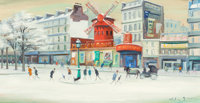 WILLY ROCHAT JAMES (French/Swiss, 1920-2004) Le Moulin Rouge, circa 1970 Oil on canvas 15-1/2 x 2