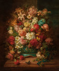 Paintings, HANS ZATZKA (German, 1859-1945). Still Life with Flowers and Butterflies. Oil on canvas. 30 x 25 inches (76.2 x 63.5 cm)...