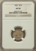 Three Cent Nickels: , 1865 3CN AU58 NGC. NGC Census: (145/1460). PCGS Population(280/1501). Mintage: 11,382,000. Numismedia Wsl. Price for probl...