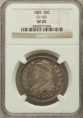 Bust Half Dollars, 1809 50C Normal Edge VF25 NGC. O-103. NGC Census: (26/712). PCGSPopulation (36/548). Mintage: 1,405,810. Numismedia W...