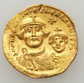 Ancients:Byzantine, Ancients: Heraclius, with Heraclius Constantine (AD 610-641). AVsolidus (4.33 gm)....