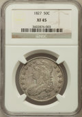 Bust Half Dollars: , 1827 50C Square Base 2 XF45 NGC. NGC Census: (202/1636). PCGSPopulation (258/1291). Mintage: 5,493,400. Numismedia Wsl. Pr...