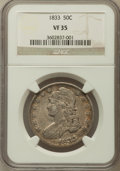 Bust Half Dollars: , 1833 50C VF35 NGC. NGC Census: (46/1276). PCGS Population(75/1371). Mintage: 5,206,000. Numismedia Wsl. Price for problem...