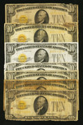 Small Size:Gold Certificates, Fr. 2400 $10 1928 Gold Certificate. Group of Seven. Very Good or better.. ... (Total: 7 notes)
