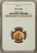 Lincoln Cents: , 1936 1C MS64 Red NGC. NGC Census: (61/2322). PCGS Population(126/2397). Mintage: 309,637,568. Numismedia Wsl. Price for pr...