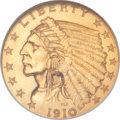 Proof Indian Quarter Eagles, 1910 $2 1/2 PR66 NGC....