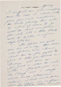 Football Collectibles:Others, Curly Lambeau Handwritten Signed Letter - February 8, 1965 (Green Bay Packers Famed Coach)....
