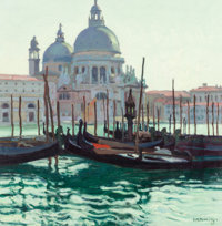 ERNEST MARTIN HENNINGS (American, 1886-1956) Idle Gondolas, Venice, Italy Oil on canvasboard 14 x