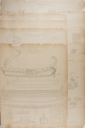 "Books:Prints & Leaves, [Nautical Prints] Lot of Ten Construction Drawings of Various ShipsPublished in France, Circa 1890. 22"" x 17.5"". Paper tone..."