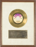 "Music Memorabilia:Awards, Isley Brothers ""It's Your Thing"" RIAA Gold Single Award. An RIAAaward presented to Rudolph Isley to commemorate the sale of...(Total: 1 Item)"