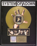 Music Memorabilia:Awards, System of a Down RIAA Gold Album Award. Presented to Record &Tape Traders to commemorate the sale of more than 500,000 copi...(Total: 1 Item)