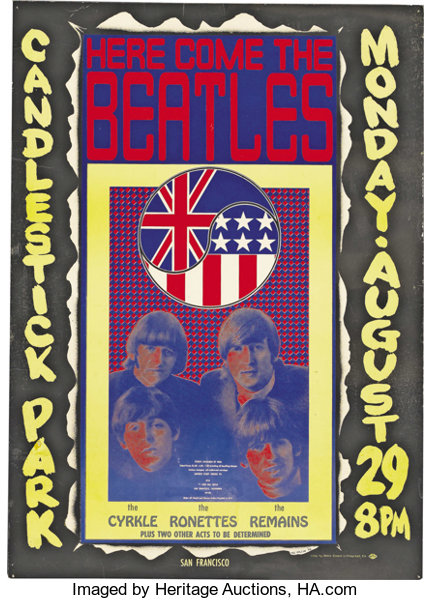 Music MemorabiliaPosters Beatles Candlestick Park Concert Poster Program And Ticket Group