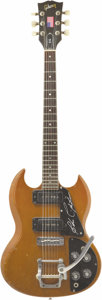 Music Memorabilia:Autographs and Signed Items, John Cipollina Autographed Guitar. A vintage Gibson SG electricguitar with brown wood finish, owned and played by the late...(Total: 1 Item)
