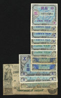 Confederate Notes:1862 Issues, T44 $1 1862 Fine. T45 $1 1862 VG.. ... (Total: 13 notes)