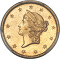 Gold Dollars, 1849-C G$1 Closed Wreath MS62 PCGS. CAC. Variety 1....