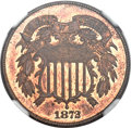 Two Cent Pieces, 1872 2C MS65 Red and Brown NGC. CAC....