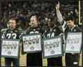 Football Collectibles:Photos, New York Jets Sack Exchange Multi Signed Oversized Photograph....