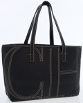 Luxury Accessories:Bags, Carolina Herrera Black Leather Tote Bag with CH White StitchingDetail. ...