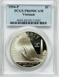 Modern Issues: , 1994-P $1 Vietnam Veterans Memorial Silver Dollar PR69 Deep CameoPCGS. PCGS Population (2227/38). NGC Census: (2602/12). M...