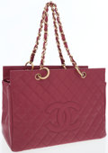 Luxury Accessories:Bags, Chanel Raspberry Caviar Leather Grand Shopper. ...