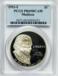 Modern Issues: , 1993-S $1 Bill of Rights Silver Dollar PR69 Deep Cameo PCGS. PCGSPopulation (2272/34). NGC Census: (2075/33). Mintage: 534...