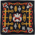 """Luxury Accessories:Accessories, Hermes Black, Gold & Red """"Ferronnerie,"""" by Caty Latham SilkScarf. ..."""