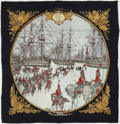 "Luxury Accessories:Accessories, Hermes Black, White & Gold ""Marine et Cavalerie,"" by PhilippeLedoux Silk Scarf. ..."