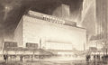 Fine Art - Work on Paper:Drawing, HUGH FERRISS (American, 1889-1962). New York at Night.Charcoal on paper. 13-1/4 x 22-3/4 inches (33.7 x 57.8 cm)(sheet...