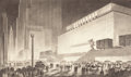 Fine Art - Work on Paper, HUGH FERRISS (American, 1889-1962). Columbus Circle atNight. Charcoal on paper. 14-1/2 x 23 inches (36.8 x 58.4 cm)(sh...