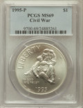 Modern Issues: , 1995-P $1 Civil War Silver Dollar MS69 PCGS. PCGS Population(1779/146). NGC Census: (1014/118). Numismedia Wsl. Price for...