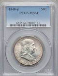 Franklin Half Dollars: , 1949-S 50C MS64 PCGS. PCGS Population (1842/1699). NGC Census:(863/1250). Mintage: 3,744,000. Numismedia Wsl. Price for pr...