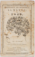 Books:Americana & American History, [Almanac]. Phrenological and Physiological Almanac for 1849.New York: Fowlers and Wells, 1848. String bound. Mild, ...