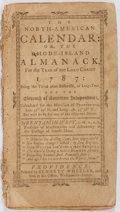Books:Americana & American History, [Almanac]. The North-American Calendar: or the Rhode-IslandAlmanack, for the Year of Our Lord Christ, 1787. Bennett...