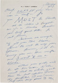 Football Collectibles:Others, Curly Lambeau Handwritten Signed Letter - March 27, 1965 (Green BayPackers Famed Coach)....
