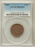 Half Cents: , 1851 1/2 C MS63 Brown PCGS. PCGS Population (77/44). NGC Census:(104/89). Mintage: 147,672. Numismedia Wsl. Price for prob...