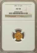 Gold Dollars: , 1851-O G$1 AU58 NGC. NGC Census: (275/403). PCGS Population(57/193). Mintage: 290,000. Numismedia Wsl. Price for problem f...