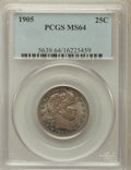Barber Quarters: , 1905 25C MS64 PCGS. PCGS Population (35/30). NGC Census: (41/17).Mintage: 4,968,250. Numismedia Wsl. Price for problem fre...