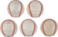 Baseball Collectibles:Balls, 1980's Old Timers Multi Signed Baseballs Lot of 5. ...