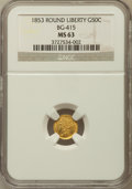 California Fractional Gold, 1853 50C Liberty Round 50 Cents, BG-415, Low R.5, MS63 NGC....