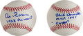 Autographs:Baseballs, Al Rosen and Phil Cavarretta Single Signed Baseballs WithInscriptions....