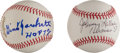 "Autographs:Baseballs, Gino Marchetti ""HOF 72"", And Johnny Lattner ""Heisman 53"" SingleSigned Baseballs Lot Of 2...."