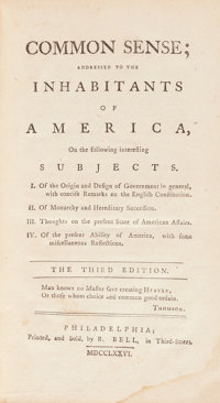 [Thomas Paine]. Common Sense; Addressed to the Inhabitants of America... The Third E