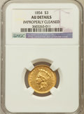 Three Dollar Gold Pieces: , 1854 $3 -- Improperly Cleaned -- NGC Details. AU. NGC Census:(188/3174). PCGS Population (335/2162). Mintage: 138,618. Num...