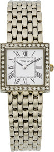 Estate Jewelry:Bracelets, Tiffany & Co. Swiss, Lady's Diamond, White Gold Wristwatch. ...