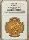 Liberty Double Eagles: , 1870 $20 -- Improperly Cleaned -- NGC Details. AU. NGC Census: (19/181). PCGS Population (25/102). Mintage: 155,185. Numism...