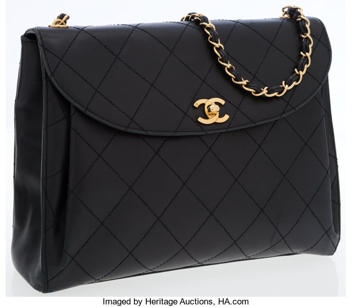 59f7d32a4322 Chanel Black Quilted Lambskin Leather Flap Bag with Gold