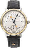 Timepieces:Wristwatch, Maurice Lacroix Ref. 07769 Steel & Gold Gent's Watch With Day/Night Indication. ...